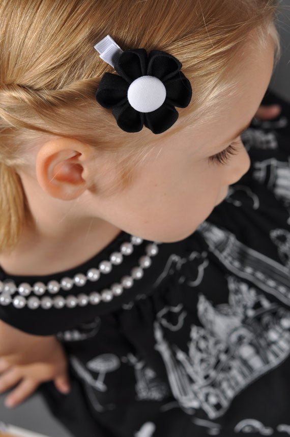 Black & White Kanzashi Fabric Flower-Available in 4 Styles - Hold It!