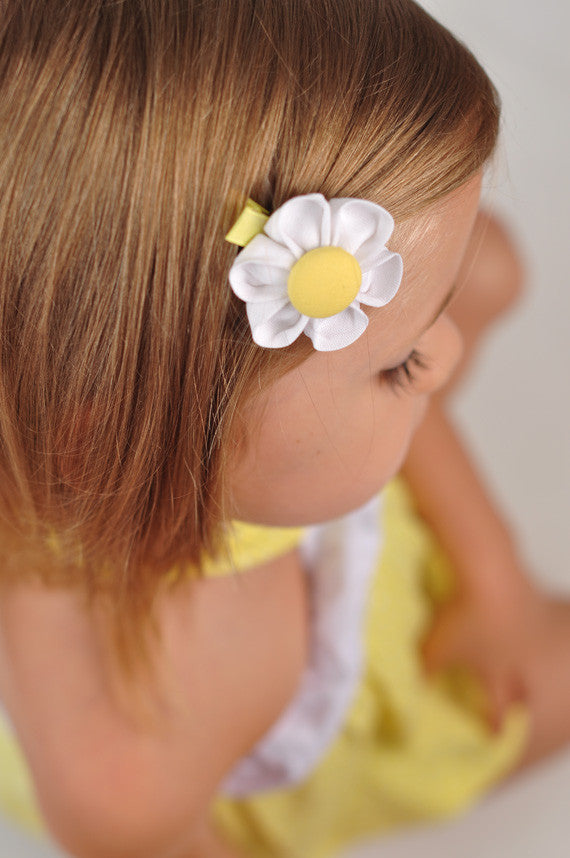 White & Yellow Kanzashi Fabric Flower-Available in 4 Styles - Hold It!