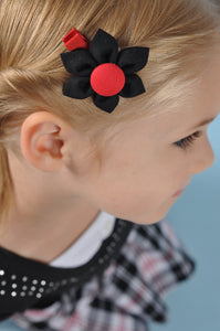 Black & Red Kanzashi Fabric Flower-Available in 4 Styles - Hold It!