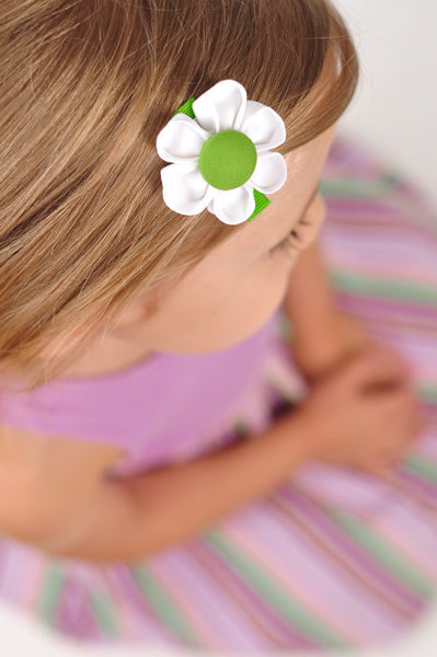 White & Green Kanzashi Fabric Flower-Available in 4 Styles - Hold It!