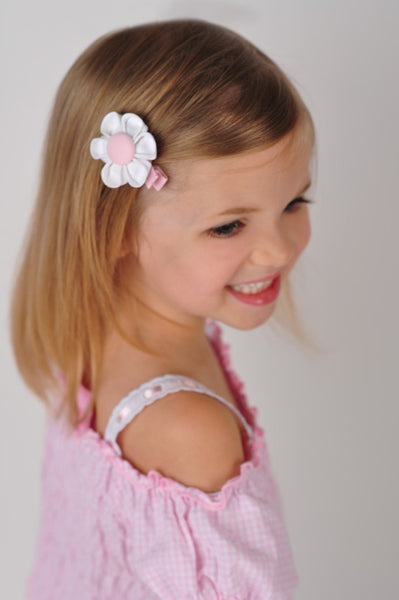 White & Pink Kanzashi Fabric Flower-Available in 4 Styles - Hold It!