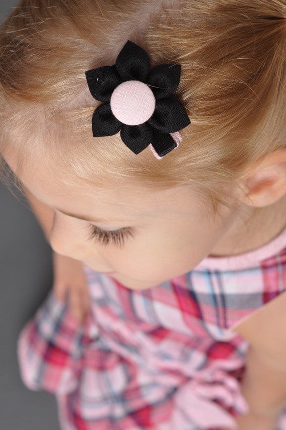 Black & Light Pink Kanzashi Fabric Flower-Available in 4 Styles - Hold It!
