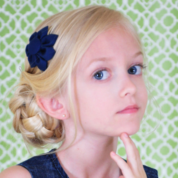 Navy Blue Kanzashi Fabric Flower-Available in 4 Styles - Hold It!