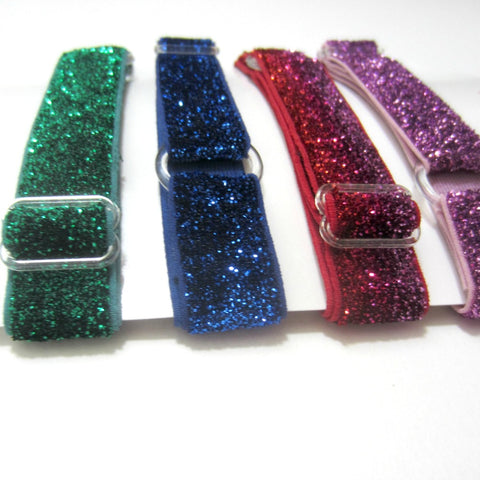 Adjustable Elastic Headband-Set of 4 Green, Blue, Purple Frost Glitter - Hold It!