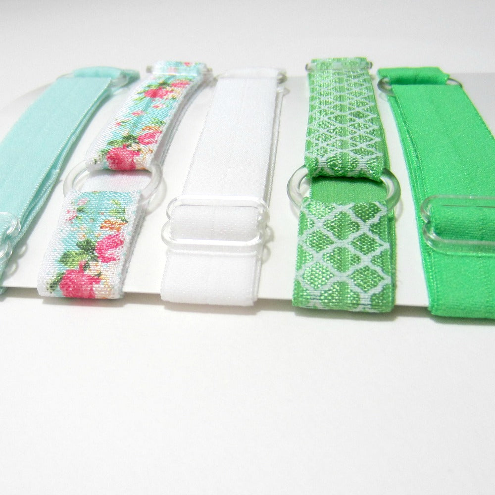 Adjustable Elastic Headband-Set of 5 Green Floral - Hold It!