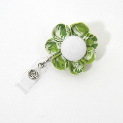 Green & White Toile Flower Retractable Badge Reel, ID Holder, Lanyard - Hold It!