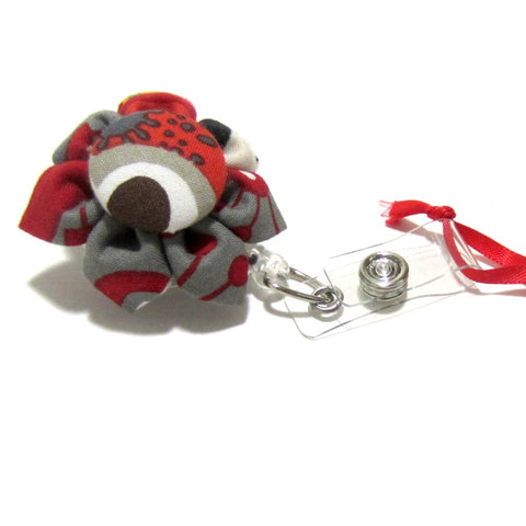 Red, Grey, Cream Flower Retractable Badge Reel, ID Holder, Lanyard - Hold It!