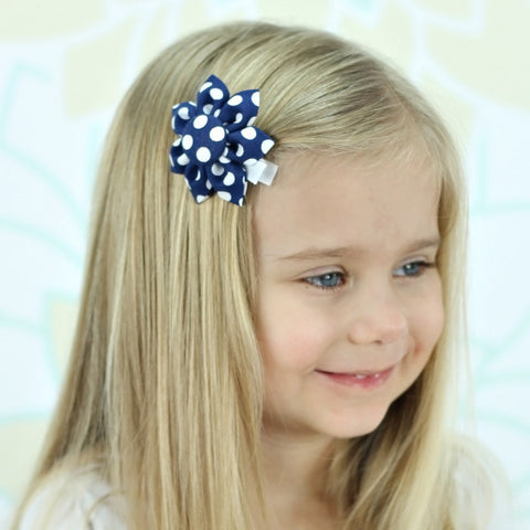 Navy & White Polka Dot Kanzashi Fabric Flower-Available in 4 Styles - Hold It!