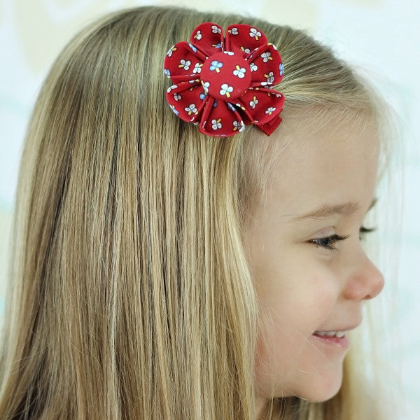 Red Floral Kanzashi Fabric Flower-Available in 4 Styles - Hold It!