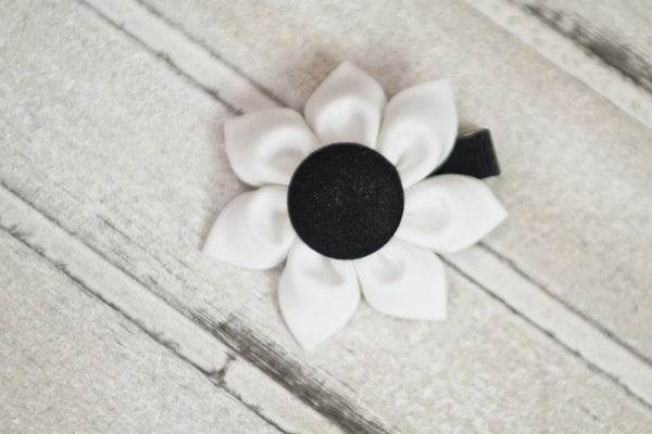 White & Black Kanzashi Fabric Flower-Available in 4 Styles - Hold It!