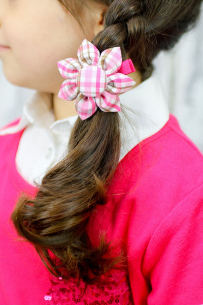 Hot Pink & Brown Plaid Kanzashi Fabric Flower-Available in 4 Styles - Hold It!