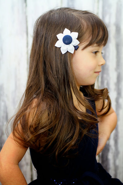 White & Navy Blue Kanzashi Fabric Flower-Available in 4 Styles - Hold It!