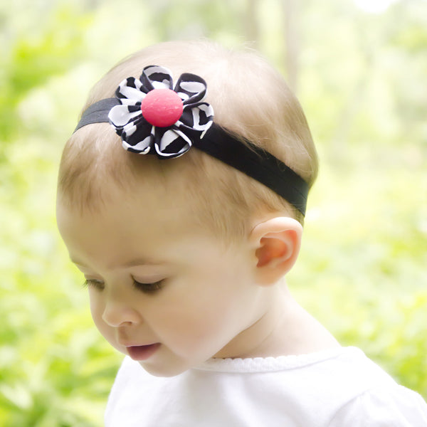 Zebra & Red Kanzashi Fabric Flower-Available in 4 Styles
