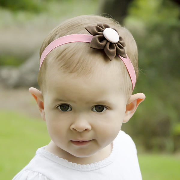 Brown & Pink Kanzashi Fabric Flower-Available in 4 Styles - Hold It!