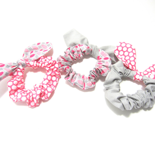 Scrunchies Set of 3 Hot Pink Polka Dot, Ash Gray, Pink & Grey Circles - Hold It!