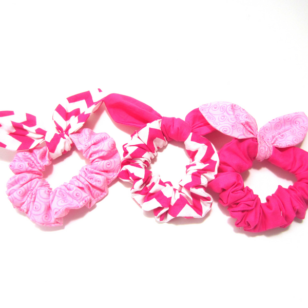 Scrunchies Set of 3 Pink Swirl, Hot Pink Chevron, Bright Pink - Hold It!