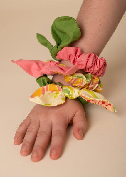 Scrunchies Set of 3 Melon, Yellow & Green Floral, Green Grass - Hold It!