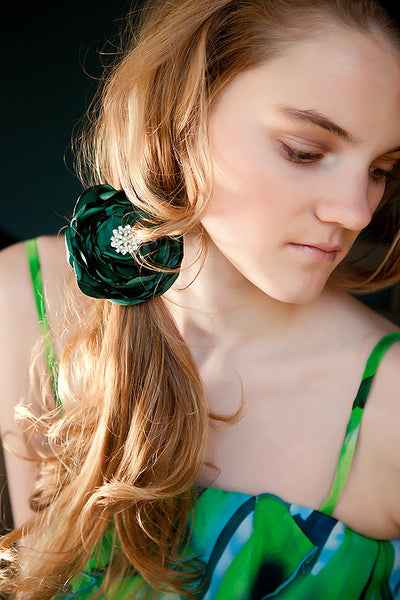 Satin Fabric Flower Ponytail Holder-Available in 35 Colors! - Hold It!