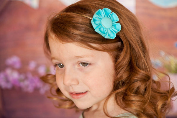 Bahama Blue Kanzashi Fabric Flower-Available in 4 Styles - Hold It!