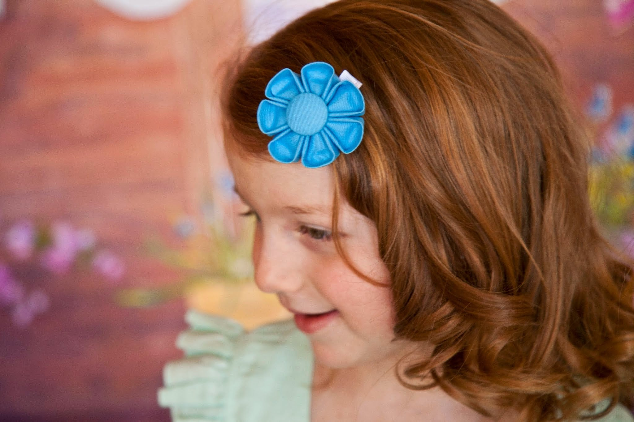 Stratosphere Blue Kanzashi Fabric Flower-Available in 4 Styles - Hold It!