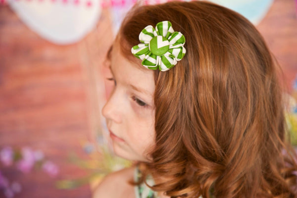 Green & White Chevron Kanzashi Fabric Flower-Available in 4 Styles - Hold It!