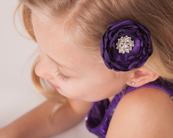 Satin Fabric Flower Hair Clip-Available in 35 Colors! - Hold It!