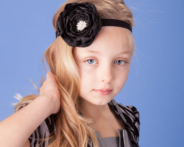 Satin Fabric Flower Elastic Headband-Available in 35 Colors! - Hold It!