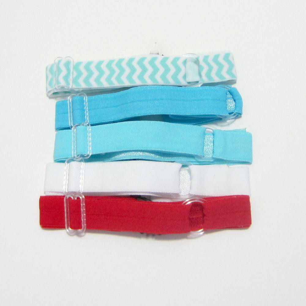 Adjustable Elastic Headband-Set of 5 Turquoise & Red - Hold It!