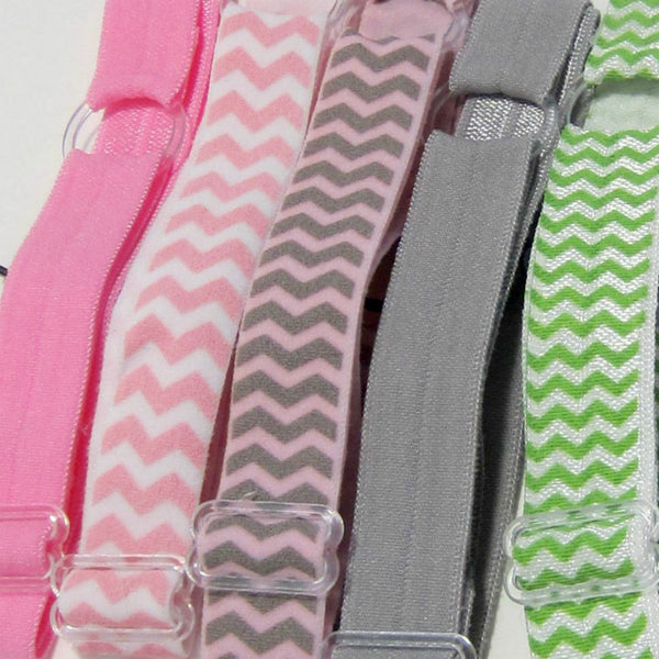 Adjustable Elastic Headband-Set of 5 Pink & Grey - Hold It!