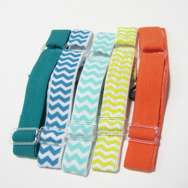 Adjustable Elastic Headband-Set of 5 Orange & Green - Hold It!