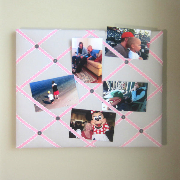 "16""x20"" Memory Board or Bow Holder-Grey & Pink - Hold It!"