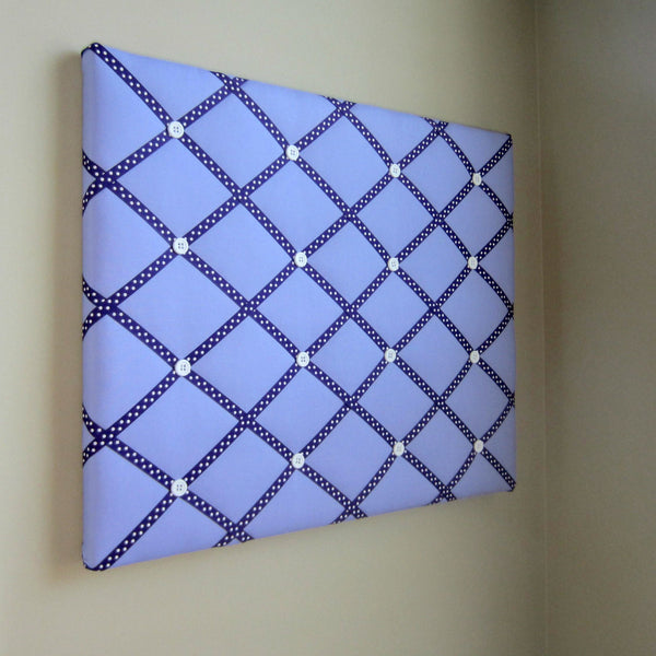 "16""x20"" Memory Board or Bow Holder-Lavender & Purple Polka Dots - Hold It!"