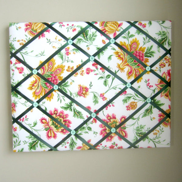 "16""x20"" Memory Board or Bow Holder-Jacobean Pink, Green, Gold - Hold It!"
