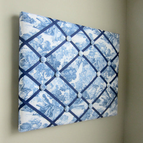"16""x20"" Memory Board or Bow Holder-Denim Navy Blue Toile - Hold It!"