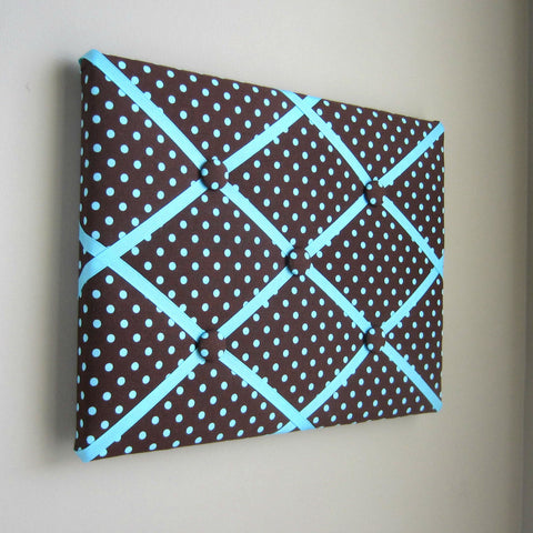 "11""x14"" Memory Board or Bow Holder-Brown & Aqua Polka Dot - Hold It!"