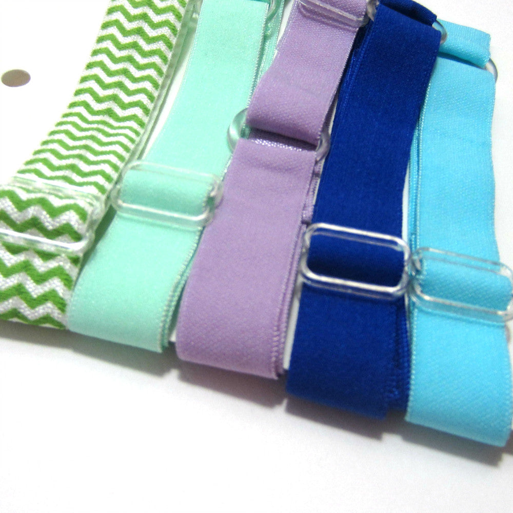 Adjustable Elastic Headband-Set of 5 Lavender & Green - Hold It!