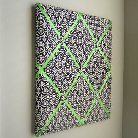 "16""x20"" Memory Board or Bow Holder-Brown & Lime Damask - Hold It!"