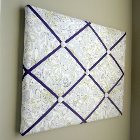 "11""x14"" Memory Board or Bow Holder-Purple, Grey, Green Floral - Hold It!"