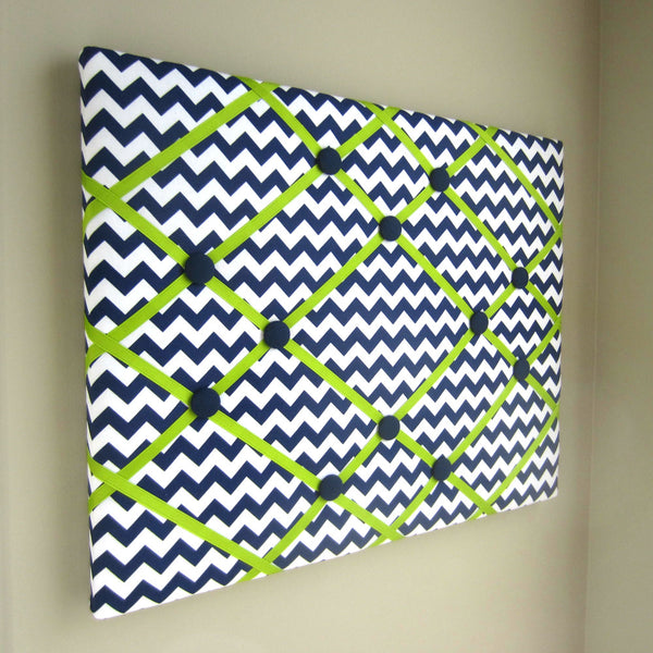 "16""x20"" Memory Board or Bow Holder-Navy Blue Chevron - Hold It!"