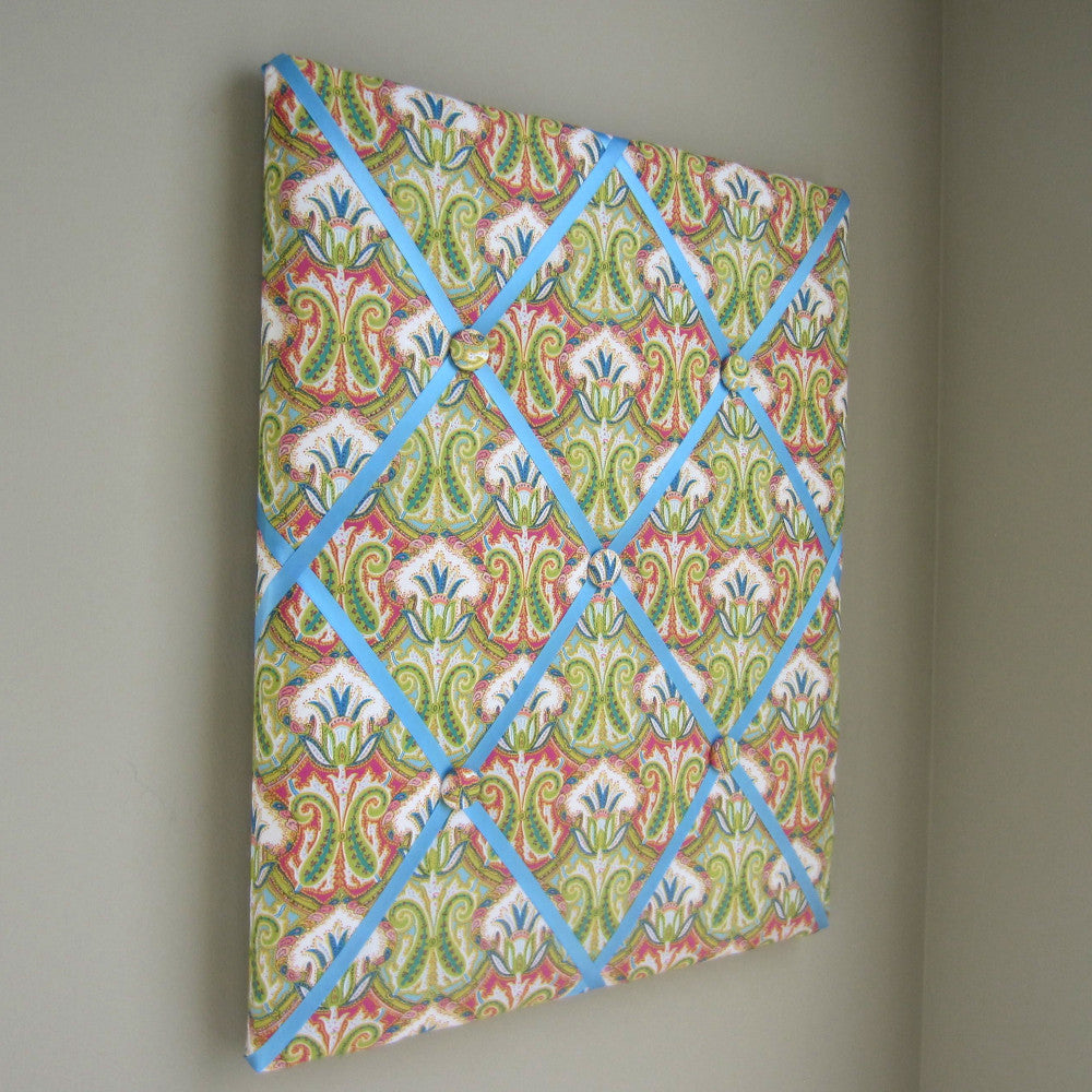 "16""x20"" Memory Board or Bow Holder-Spring Feather Paisley - Hold It!"