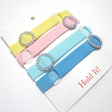 Adjustable Elastic Headband-Set of 4 Pastels with Rhinestones - Hold It!