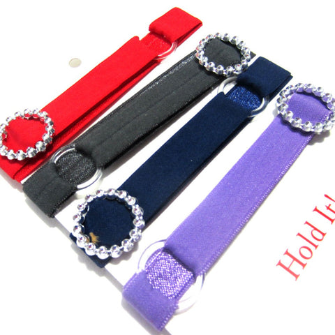 Adjustable Elastic Headband-Set of 4 Brights with Rhinestones - Hold It!