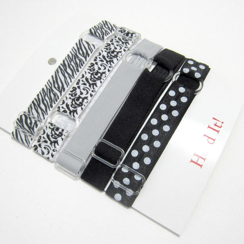 Adjustable Elastic Headband-Set of 5 Black & Silver - Hold It!