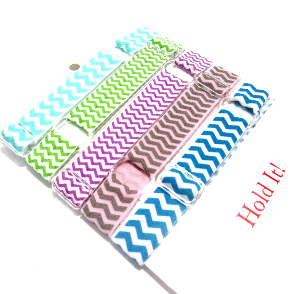Adjustable Elastic Headband-Set of 5 Pastel Chevron - Hold It!