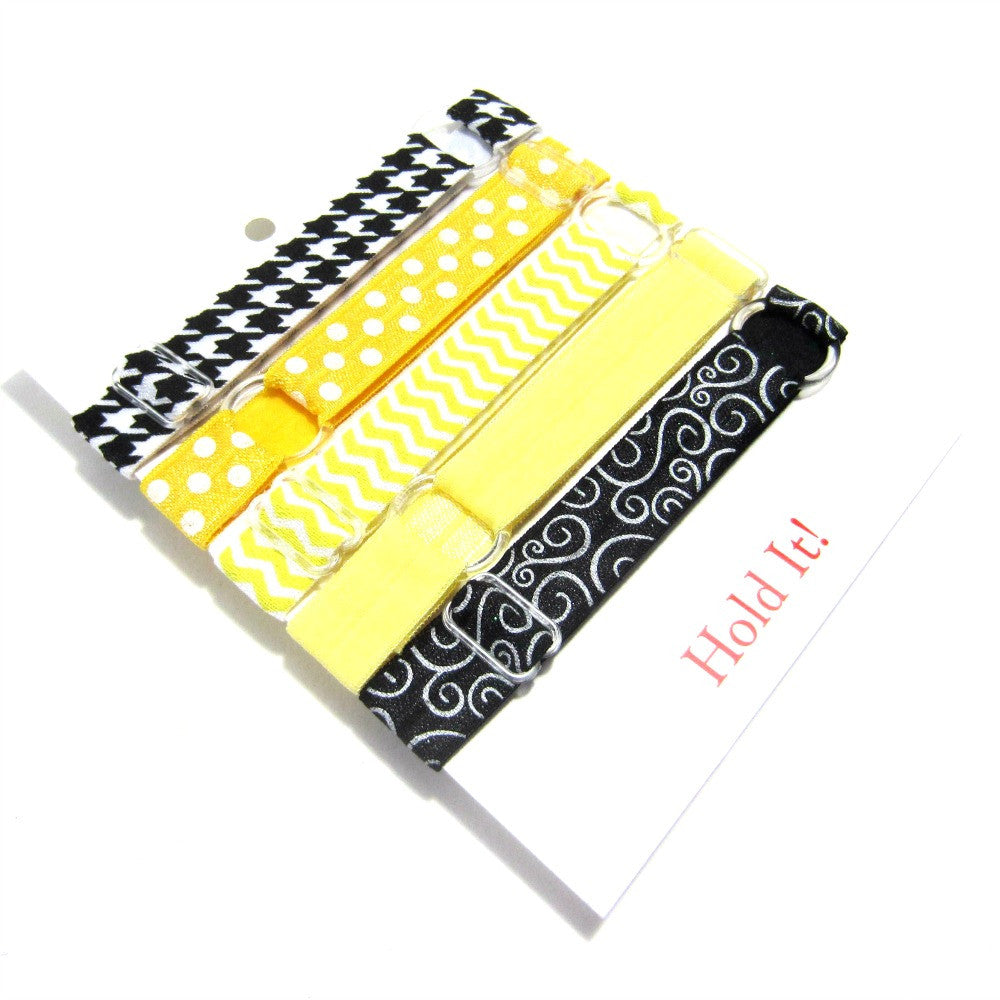 Adjustable Elastic Headband-Set of 5 Yellow & Black - Hold It!