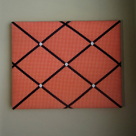 "16""x20"" Memory Board or Bow Holder-Orange Gingham - Hold It!"