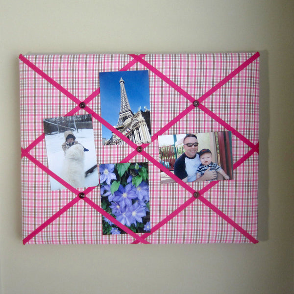 "16""x20"" Memory Board or Bow Holder-Pink & Brown Plaid - Hold It!"