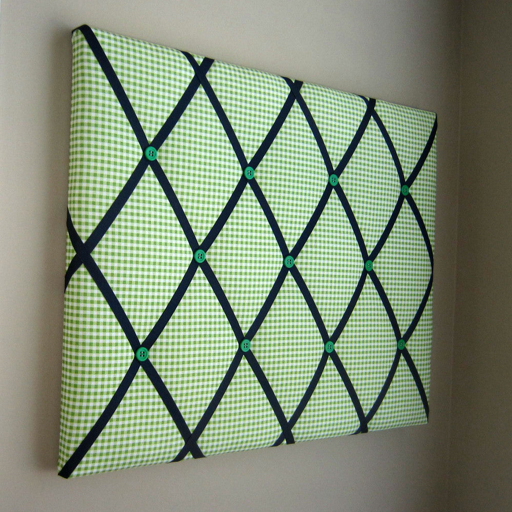 "16""x20"" Memory Board or Bow Holder-Green Gingham - Hold It!"