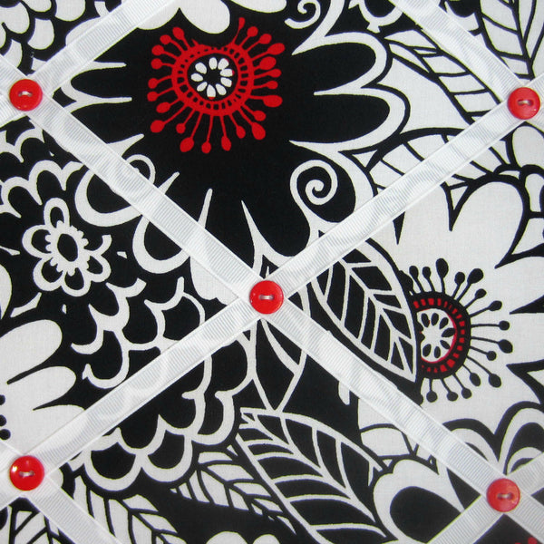 "11""x14"" Memory Board or Bow Holder-Black, White & Red Floral - Hold It!"
