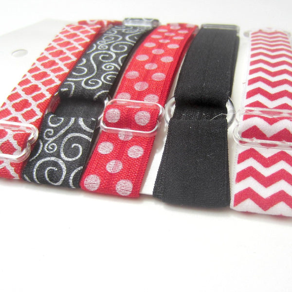Adjustable Elastic Headband-Set of 5 Red & Black - Hold It!